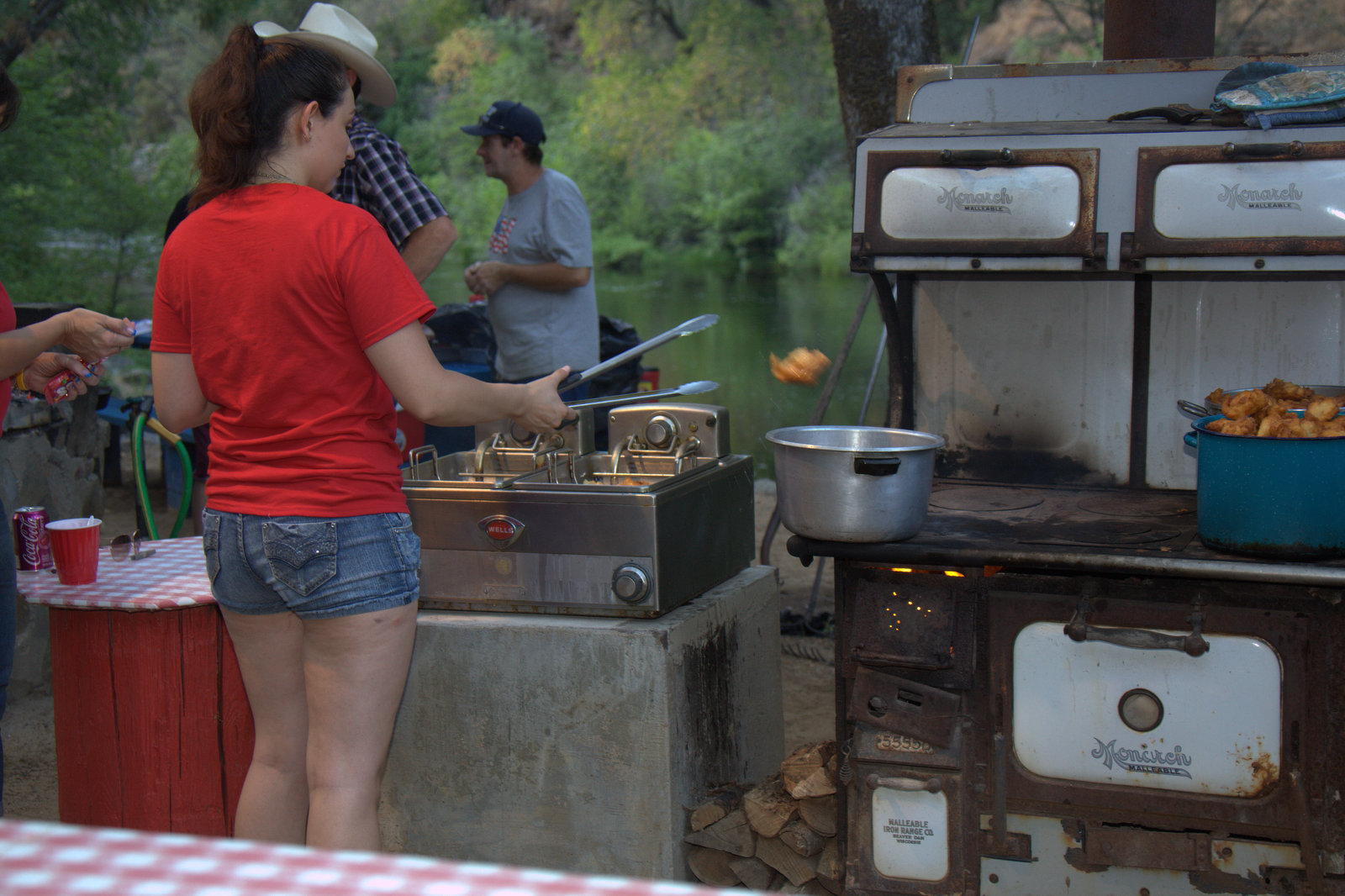 Saturday night cookout at Roaring Camp